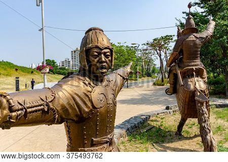 Gimhae, South Korea - June 18, 2017 : Replica Of Gaya Dynasty  Footman And Horseman Bronze Statue In