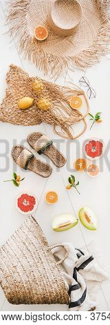 Summer Layout With Feminine Accessories And Fresh Fruits, Vertical Composition