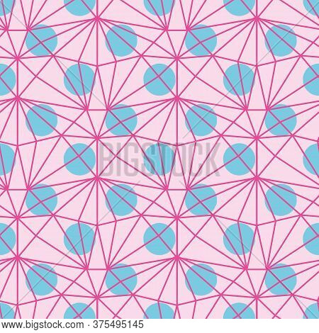 Blue Polka Dots And Pink Netting Seamless Vector Pattern. Girly Geometric Surface Print Design For F