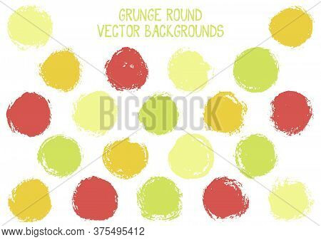 Vector Grunge Circles Isolated. Creative Stamp Texture Circle Scratched Label Backgrounds. Circular