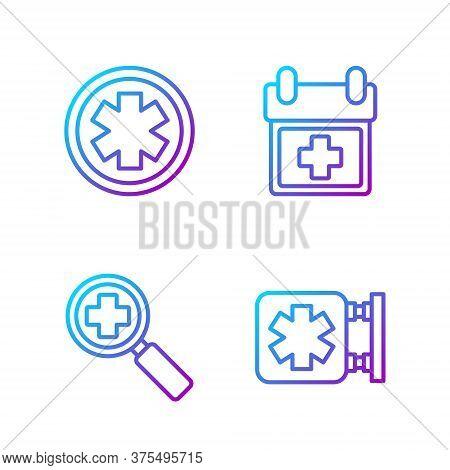 Set Line Medical Symbol Of The Emergency, Magnifying Glass For Search Medical, Medical Symbol Of The