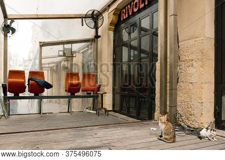 Beirut, Lebanon - 1 Apr 2017: In Brand New Downtown Beirut, The Disused Rivoli Cafe And Its Signatur
