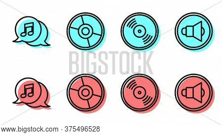 Set Line Vinyl Disk, Musical Note In Speech Bubble, Cd Or Dvd Disk And Speaker Volume Icon. Vector