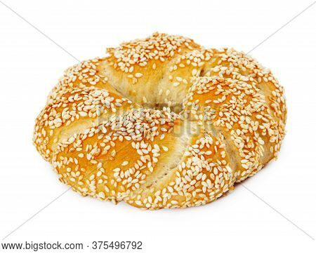 Turkish Bagel Simit With Sesame Seeds Isolated On White Background.