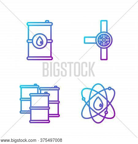 Set Line Atom, Barrel Oil, Barrel Oil And Industry Pipes And Valve. Gradient Color Icons. Vector