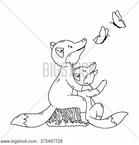 Two Foxes Are Looking At The Butterflies. Cartoon Forest Animals Parent With Baby. Mother's And Fath