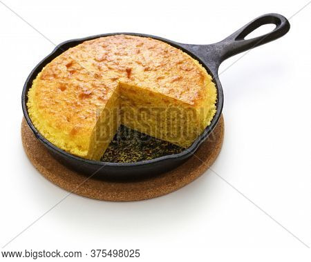 homemade cornbread in skillet, southern cooking