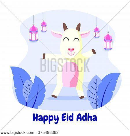 Eid Al Adha Cute Goat Cartoon Flat Vector Illustration. Celebration Of Islamic Holiday The Sacrifice
