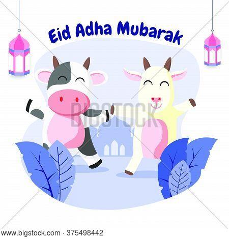 Eid Al Adha Cute Cow And Goat Flat Vector Illustration. Celebration Of Islamic Holiday The Sacrifice