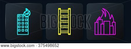 Set Line Fire In Burning Building, Fire In Burning Buildings And Fire Escape. Black Square Button. V