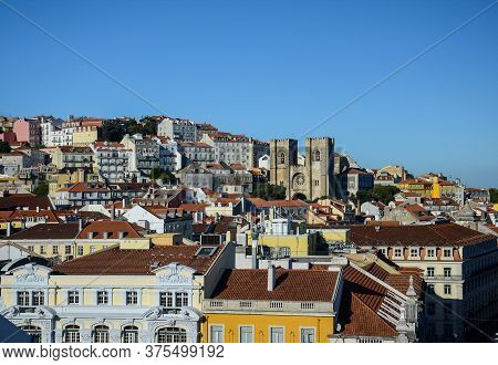 Lisbon Rooftops With Se Cathedral (santa Maria Maior De Lisboa), In Portugal, Europe