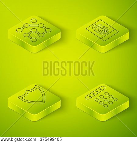 Set Isometric Fingerprint, Shield, Password Protection And Graphic Password Protection Icon. Vector