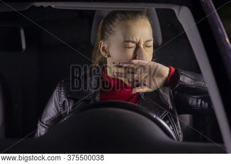 Sleeping Woman Sits Inside Car, Tired Female Driver Yawns Falls Asleep At Wheel After Long Journey,