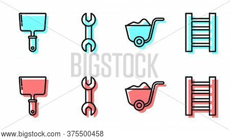 Set Line Shovel, Putty Knife, Wrench Spanner And Wooden Staircase Icon. Vector