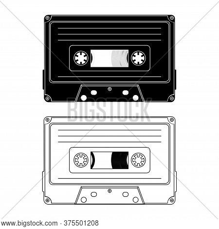 Tape Cassette. Vector Black And White Illustration Compact Cassette Tape In Outline And In Glyph Sty