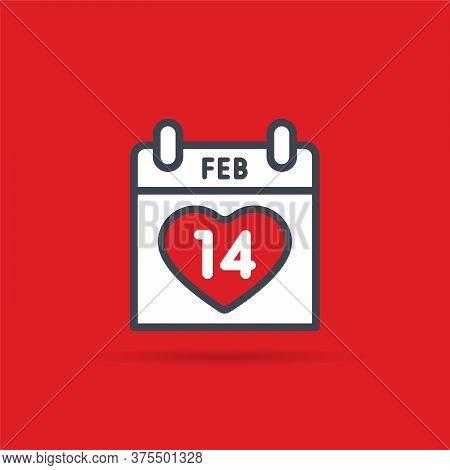 Valentines Day Calendar. February 14th Vector Illustration