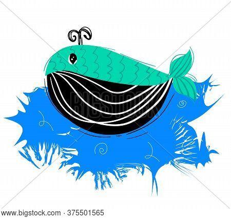 Сute Funny Whale. Undersea World In Cartoon Style. Marine Life. Children's Room Decor Prints, Post C