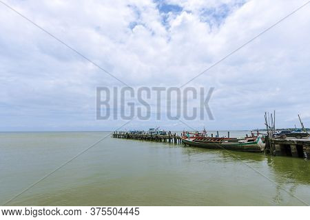 Fish Bridges And Fishing Boats At Sea In Chon Buri Province In Thailand