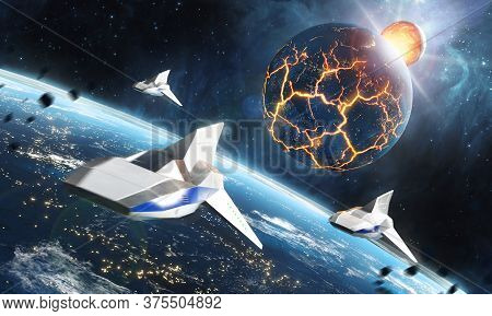 Three Space Ships Flying To The Collapsing Planet. Sci-fi Concept. 3d Rendering. Elements Of This Im