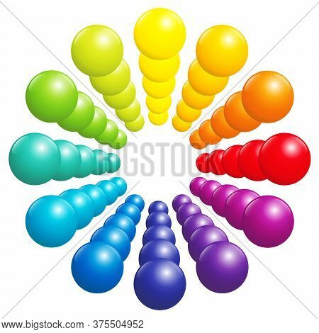 Colorful Ball Pattern - Circle, Tube, Tower Or Flower. Very Shiny Rainbow Spectrum Formed By Many Th