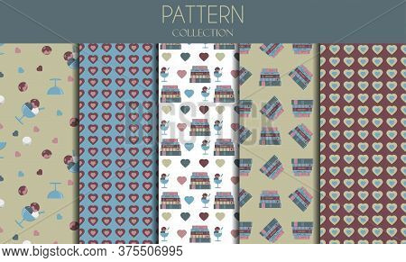 A Set Of Seamless Patterns With Books, Ice Cream And Hearts. Vector Flat Patterns In Pastel Colors.