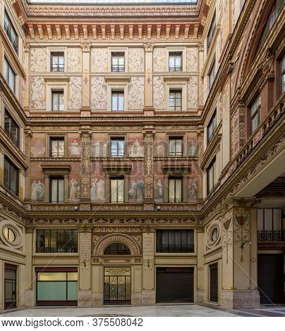 Rome, Italy-10 Mar 2020: Galleria Sciarra Is A Glass Covered Passage From The 1880s Decorated In Lib