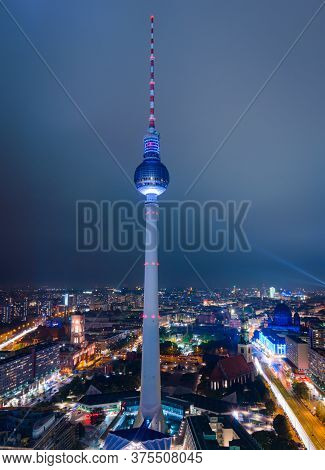 Berlin, Germany - 5 Oct 2013 The Fernsehturm, A Famous Berlin Landmark Is Lit During The Light Fest