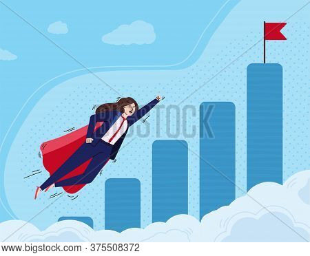 Super Business Woman Cartoon Character Flying To Approach Her Goal, Flat Vector Illustration. Busine