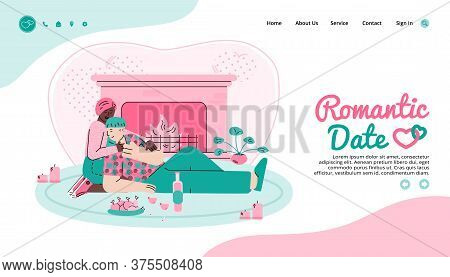 Web Page For Romantic Date Arranging And Virtual Dating Site Interface With Couple In Love, Cartoon
