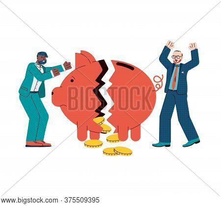Economic Crisis And Financial Bankruptcy Banner With Businessmen Characters Incur Losses Due To Mark