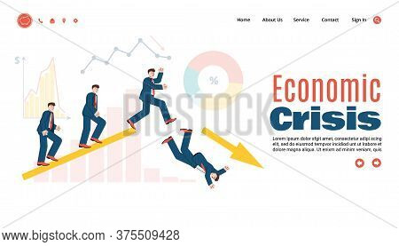 Vector Illustration Of The Economic Crisis. The Concept Of Falling Business And Negative Dynamics Du