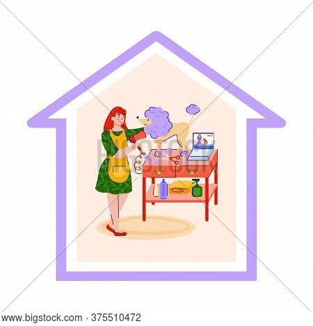 Vector Illustration Of The Concept Of Staying At Home And Caring For Pets. A Nice Girl Takes Care Of