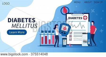 Landing Page For Diabetes Mellitus Awareness With Flat Diabetic Infographic Elements - Insulin Pen,