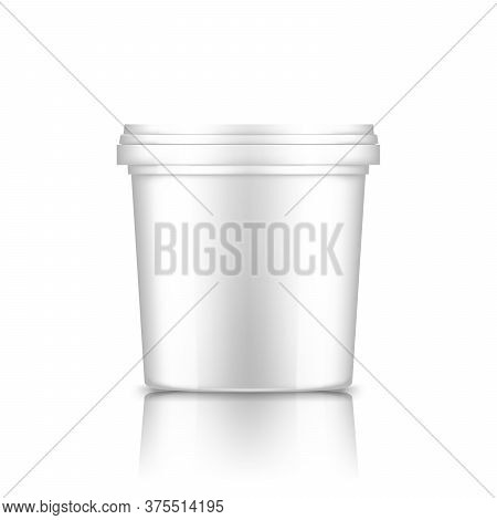 Bucket With Cap Mockup: Ice Cream, Yoghurt, Mayonnaise, Paint, Or Putty Container