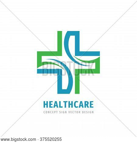 Healthcare Medical Cross - Vector Logo Template Concept Illustration. Medicine Logo Sign. Healthy Lo