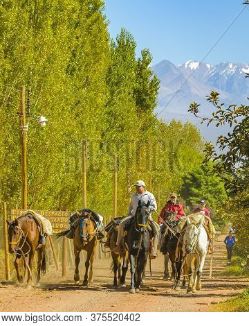 Riders At Countryside Scene, San Juan Province, Argentina