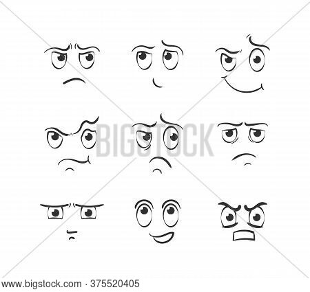 Set Of Cartoon Face Emotions On White Background. Expressive Eyes And Mouth, Smiling, Crying And Sur