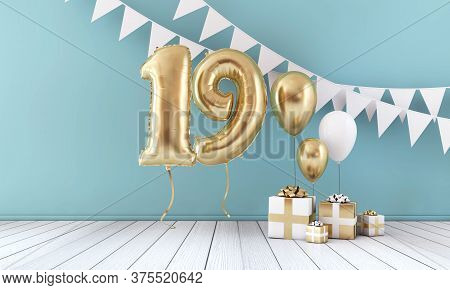 Happy 19th Birthday Party Celebration Balloon, Bunting And Gift Box. 3d Rendering