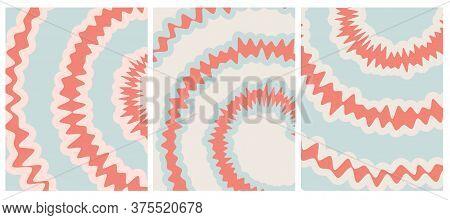Set O 3 Tie Dye Vector Layouts. Pale Red, Light Mint Green And Beige Tie Dye Decorative Geometric Ba