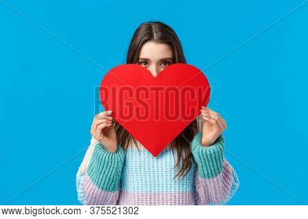 Someone Is Loved. Blushing Cute And Silly Girlfriend Want Confess In Love, Deep Feelings, Hiding Fac