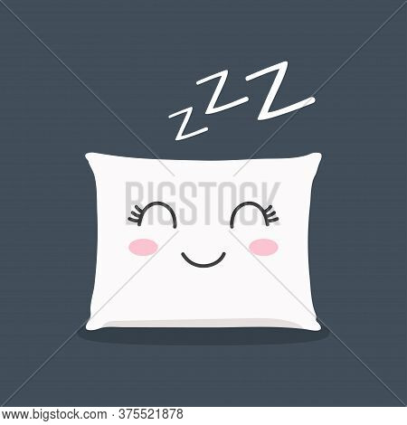 Sleeping Pillow With Closed Lashes Sleeping Zzz. Relax Sleep Icon. Pillow Icon. Vector Illustration