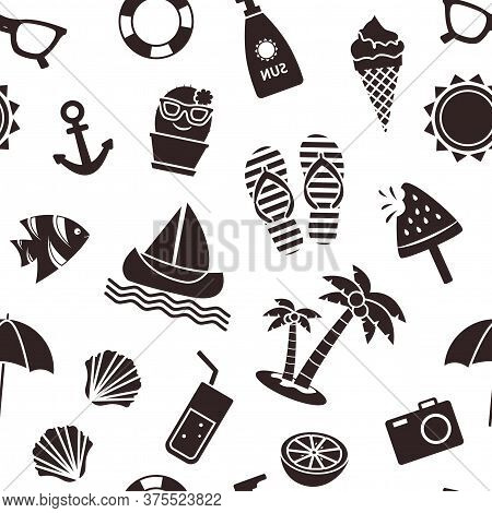 Summer Seamless Pattern, Black Different Seasons Objects Isolated On White Background. Vector Illust