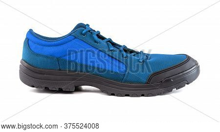 Right Cheap Light Blue Hiking Or Hunting Shoe Isolated On White Background, Side View