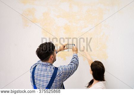Ceiling Stains From Water Leakage And Flood