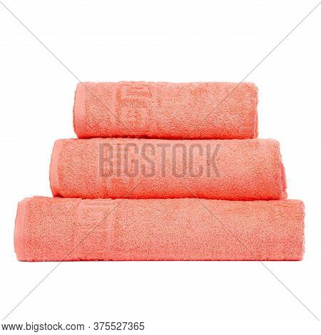 3 Frotte Towels Peach Color, Bedroom Towel White Backgroung. Colorful Peach Bath Towels Isolated On