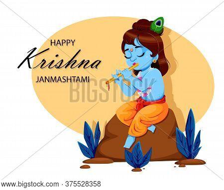 Happy Krishna Janmashtami. Lord Krishna In Happy Janmashtami Festival Of India. Vector Illustration