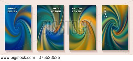 Gradient Helix Torsion Spin Cover Page Templates Vector Set. Abstract Brochure Front Pages Collectio