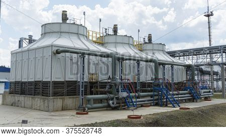 The Oil Refinery. Reservoirs For Storage Of Refinery Products. Rectification Columns. Distillation C