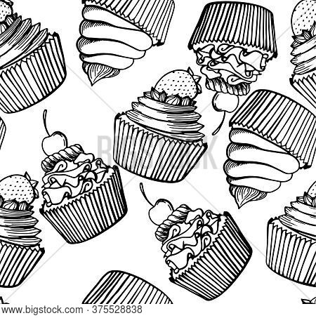 Muffin Seamless Pattern Simple Illustration . Cupcake Collection With Different Flavors . Hand Drawn