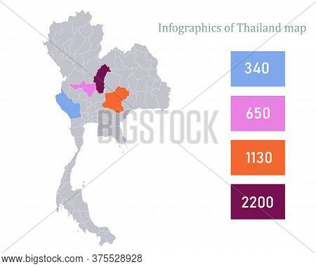Infographics Of Thailand Map, Individual Regions Vector